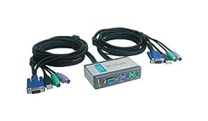 D-Link DKVM-2KU 2-Port KVM Switch mit (USB 2.0, 1x VGA, 2x PS/2 und 1x USB 2.0 Port LAN)