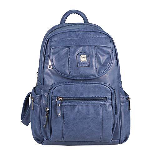 Leder-reißverschluss-vordere Tasche (OBC Damen Cityrucksack Phoenix Rucksack City Tasche Stadtrucksack Leder Optik Backpack Schultertasche Organizer Tablet Ipad Mini bis ca. 10 Zoll (Blau 30x30x14 cm))