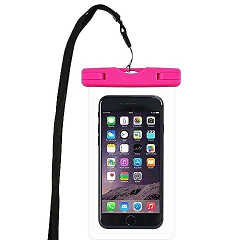WindTeco Certifiée IPX8 Pochette Sac étanche Universel Waterproof Case Bag Housse Coque Etui pour Smartphones de Taille Égale et Inférieure à 6'', idéal pour natation, la plage, pêche, la randonnée, (Rose)