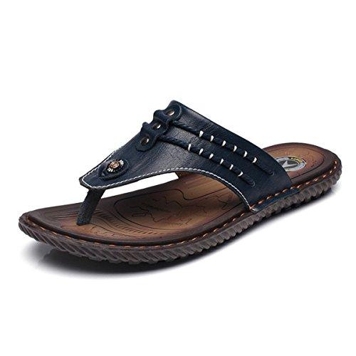 Gracosy Flip Flops, Unisex Zehentrenner Flache Hausschuhe Pantoletten Sommer Schuhe Slippers Weich Anti-Rutsch T-Strap Sandalen für Herren Damenr Blau 2 40
