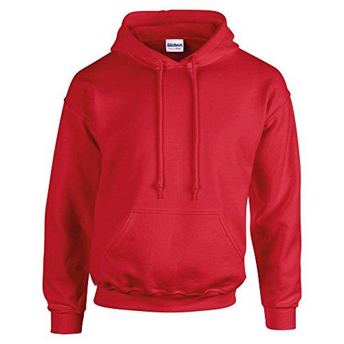 Gildan–felpa pullover da uomo con cappuccio Rosso