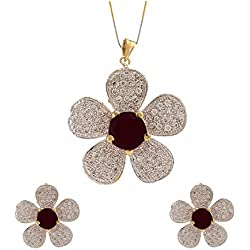 Geode Delight Floral Design American Diamond Studded with Black Stone Pendant Set with Earring for Women And Girls