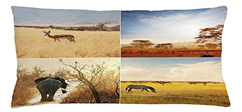 Safari Throw Pillow Cushion Cover, African Safari Collages with Native Wild Savannah Animals Exotic Lands Lonely Planet, Decorative Square Accent Pillow Case, Multicolor24 (Planet Animal Tube)