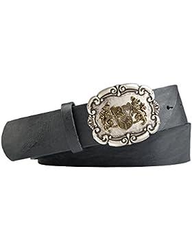 Trachten-Leder-Gürtel mit Wappenschliesse/bayerische Löwen mit Druckknopfriemen Vollrindleder in schwarz