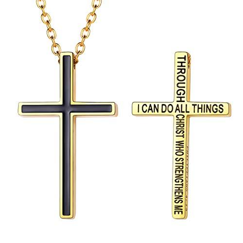 FaithHeart Herren Kreuz Halskette mit Anhänger Gold Silber Vintage Edelstahl Jesus Kruzifix Anhänger mit 18 Karat Königskette Ketten 50cm