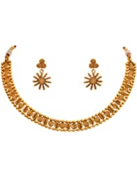 JFL- Jewellery For Less Traditional Ethnic Gram Gold Plated Spiral Design Necklace Set With Earrings For Women...
