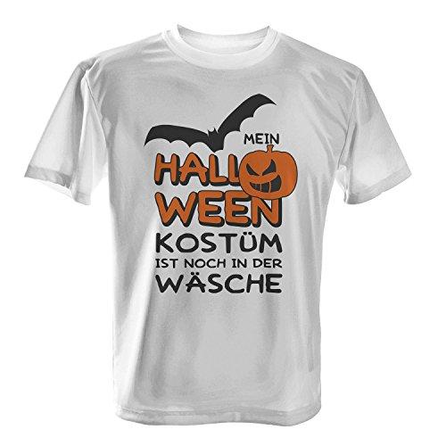Mein Halloween Kostüm ist noch in der Wäsche - Herren T-Shirt von Fashionalarm | Spaß & Fun Shirt mit Spruch | Fledermaus & Kürbis | Kostüm Verkleidung Trick Treat Süßes Saures Oktober Reformationstag, Farbe:weiß;Größe:S