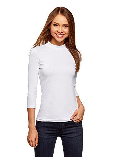 oodji Ultra Damen Tagless Baumwoll-Langarmshirt mit Stehkragen und 3/4-Arm, Weiß, DE 38/EU 40/M