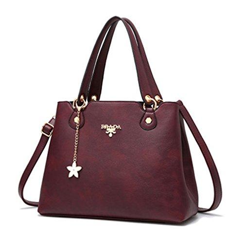 Capacità di grandi donne borsette in cuoio Crossbody Borse per donna Tote Bag Sac un principale Ladies Borsetta Borgogna 33x16x23cm