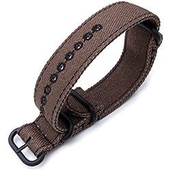 Zulu 20mm Dark Brown Watch Strap, Stitching Black, MiLTAT Thick X2 Washed Canvas, PVD