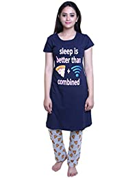 TRAZO Thought Printed Round Neck Half Sleevs Navy Long Cotton T Shirts for Women