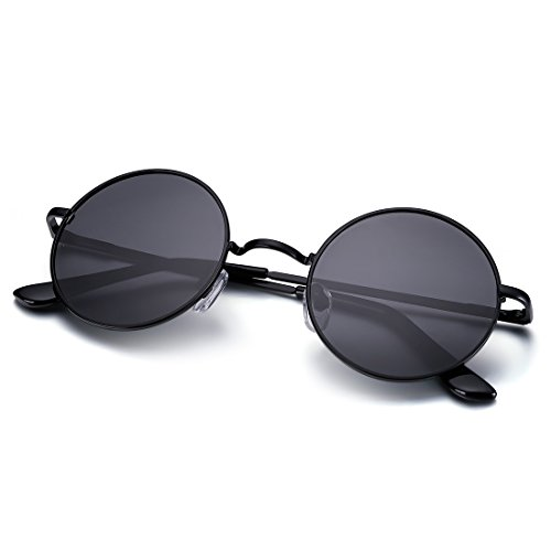 Menton Ezil Runde Retro Lennon Sonnenbrille Vintage Polarisierte Linsen Metall Gestell Rundbrille Hippi Brille Outdoor-Brille für Frauen und Männer (Black)