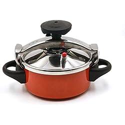 LBJYDGE Pression d'allumage de Cuisson Anti-déflagrant autocuiseur en Acier Inoxydable 2L Double Usage cuisinière Camping en Plein air cuisinière ragoût Mini cocotte-Minute de Cuisson Anti-adhésive