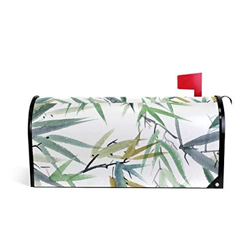 JSTEL Boîte aux Lettres Coque magnétique 64,8 x 52,8 cm Taille Standard Aquarelle Feuille de Bambou Boîte aux Lettres Coque 20.8 x 18 inch