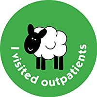 37mm Healthcare stickers. Sheep - I visited outpatients. 5 sheets, 75 stickers