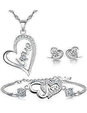 Schmuck-Sets 925 Sterling Silber Zirkonia-Liebes-Herz-Anhänger-Halskette Ohrstecker Passende + Armband Bridemaid...