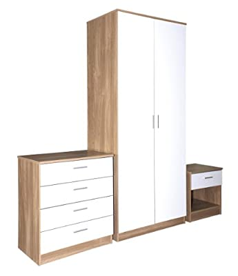 Trio White High Gloss & Oak Frame 3 Piece Bedroom Furniture Set
