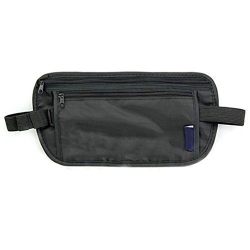 Unisex de viaje de seguridad negro con cremallera bolsa de riñonera de dinero Passport cinturón de cintura bolsa Amesii