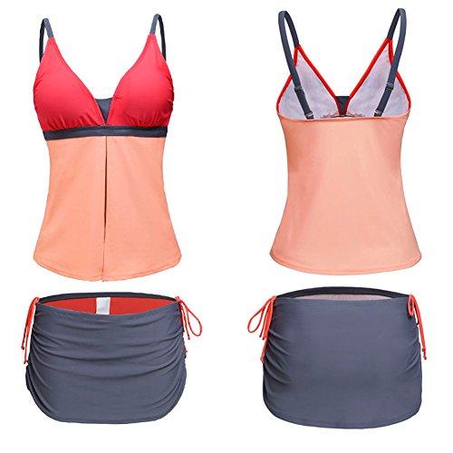 Eagsouni® Damen Tankini Bikini Set Bademode Badeanzug Gepolstert Ohne Verstärkung zweiteilig Beachwear Two Piece Mit Hotpants Orange