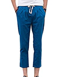 Hombre Vintage Pantalones Harem Chino Baggy Pantalones De Lino Suelto  Transpirable Cintura Elástica Tallas Grandes f8707ab9e19d