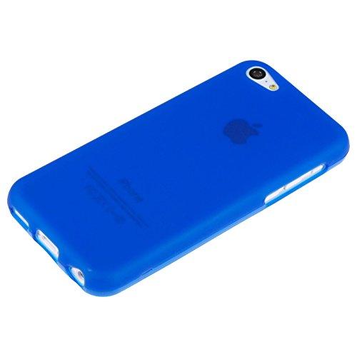 PhoneNatic Case für Apple iPhone 5c Hülle Silikon rot matt Cover iPhone 5c Tasche + 2 Schutzfolien Blau