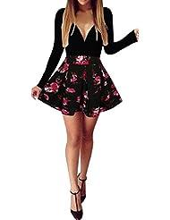vestidos de fiesta de noche Sannysis vestidos cortos playa mujer, flor (Negro, XL)
