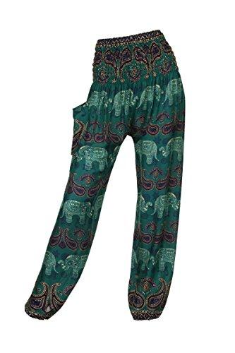 ThaiUK Damen Hose Elephant 1 Green