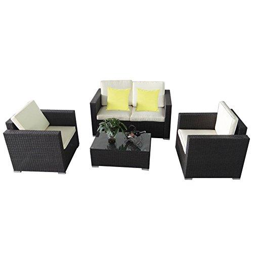 MCTECH® Poly Rattan Gartengarnitur Sitzgruppe Sofa Garnitur Polyrattan Gartenmöbel Essgruppe inkl. Glas und Sitzkissen (Type C Schwarz)