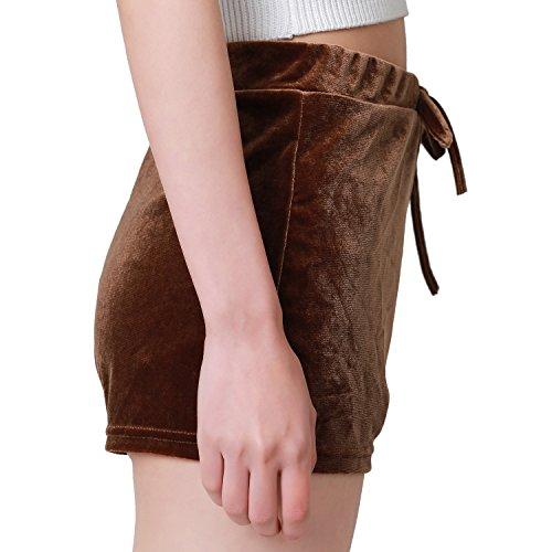 Petalum Shorts Femmes Pantalons Courts Velours Bandage Bandeaux Sport Casual Sexy Lâche Taille Haute Elastique Classique Basique Kaki