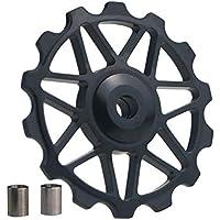 NOBRAND Polea Rueda Jockey Desviador 1PCS 14T Posterior de la Bicicleta MTB de rodamiento de cerámica for AL7075 Guía CNC Bici del Camino del Rodillo Estable 4mm 5mm 6mm (Color : Black)