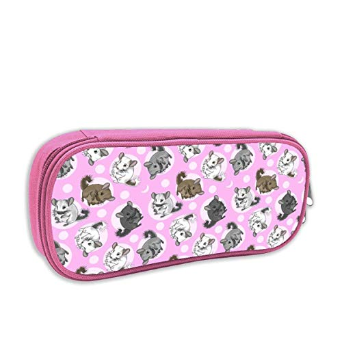 Chinchillas Moon Medium Pink Pencil Case Pouch Bag Multifunction Cosmetic Makeup Bag School Office Storage Organizer Medium Drawstring Pouch