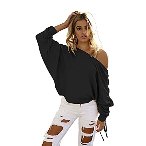 AHOOME Femme Sweater T-Shirt Col Bateau Sexy Shirt Chandail Pull Manche Longue Top Tricot Casual Automne- Hiver 2017
