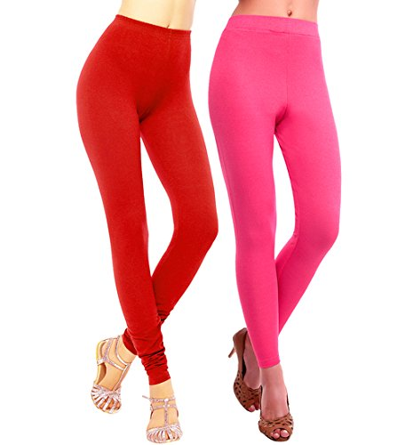 SHREEMANGALAMMART Red & Magenta cotton lycra legging