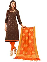 Women'S Brown Semi Stitched Embroidered Glaze Cotton Dress Material