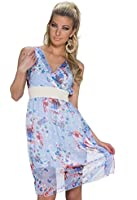 5150 Fashion4Young Damen Tailliertes Minikleid dress Chiffon Kleid im Wickel Optik in 4 Farben