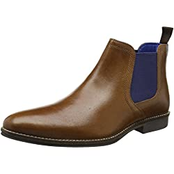 Red Tape Stockwood, Botas Chelsea para Hombre, Color Marrón (Tan Leather / Blue), Talla 42 EU