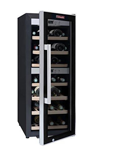 La Sommelière ECS40.2Z Weinkühlschrank / 102,0 cm Höhe/Zweizonen Weintemperierschrank mit Kompressor/Digital-Anzeige der Temperatur/edelstahl und schwarz