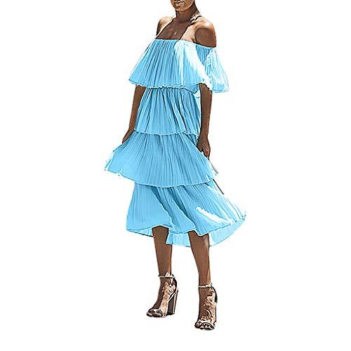 ant Ballkleid, Trägerlose Schulter Volltonfarbe Faltenrock Mode Brautkleid Freizeitkleider Blusenkleid Strandkleid(Blau,S) ()