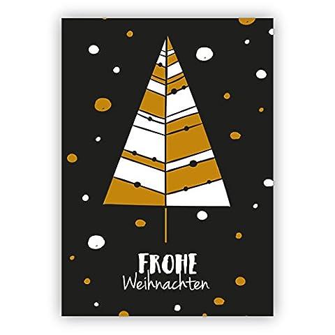 Weihnachts Klappkarten Set (4Stk) Edle, moderne Retro Weihnachtskarte mit Weihnachtsbaum: Frohe Weihnachten