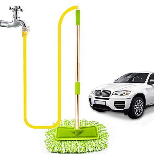 XIYU Autowaschbürste mit Schlauchanschluß Wasserspray Langen Griff Teleskopisch Baumwolle Multifunktion Car Wash Soft Brush Autowaschwerkzeug,A