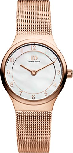 Danish Design Women's Quartz Watch with Mother of Pearl Dial Analogue Display and Rose Gold Stainless Steel Rose Gold Plated Strap DZ120344