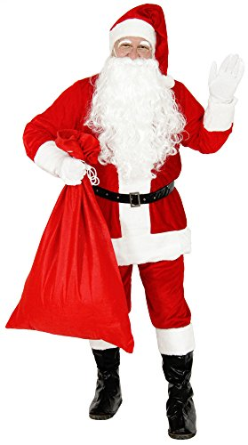 Foxxeo 10859 | Deluxe Weihnachtsmannkostüm Kostüm Weihnachtsmann Santa Claus Santakostüm Santa Nicki Plüsch rot Gr. M - XXXL, Größe:XL (Weihnachtsmann Kostüm)