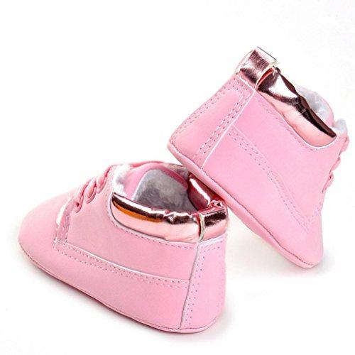Baby Schuhe Clode® Baby Kleinkind weiche alleinige lederne Schuhe Säuglingsjungen Mädchen Kleinkind Baumwoll Schuhe Rosa