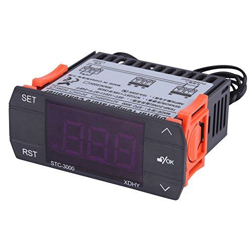 Walfront AC110V-220V Mini Thermostat Contrôleur de Température Digital et Tactile avec Capteur pour Serres, Chambre de réfrigération, Fermes(110-220V10A)