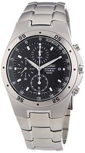 Seiko SND419P1 - Reloj cronógrafo de caballero de cuarzo con correa de titanio negra (cronómetro) - sumergible a 100 metros de Seiko