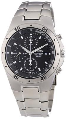 Seiko SND419P1 - Reloj cronógrafo de caballero de cuarzo con correa de titanio negra (cronómetro) - sumergible a 100 metros