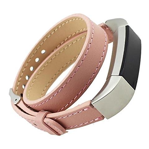 Ihee Mode double tour Cuir véritable Bracelet de montre en acier inoxydable Boucle classique bracelet Bracelet pour Fitbit Alta tracker d'activité M rose