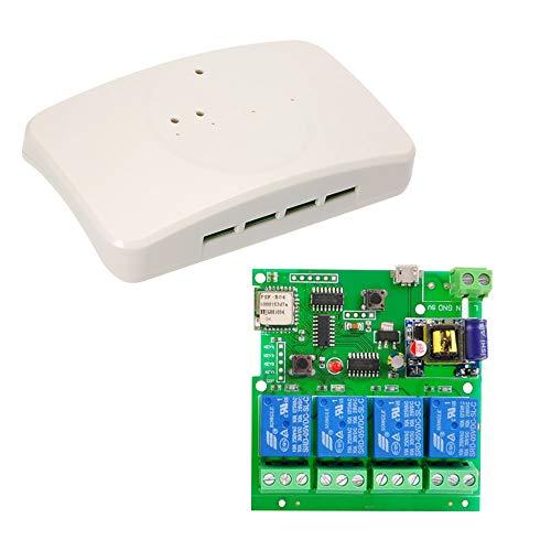 Festnight Sonoff Smart Wireless Fernbedienung Schalter, DC 5V AC85-220V 4CH Wifi Switch APP Fernbedienung Universal Modul Mit RF 433MHz Fernbedienung (Mit Universal-fernbedienung Rf)