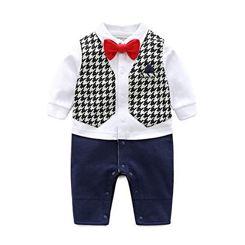 Stretch-baumwolle Tuxedo (ZIHUOKIJ Infant Kleinkind Baby Boy Outfit Tuxedo Formale Onesies Strampler mit Bowtie Size 90 (Houndstooth))