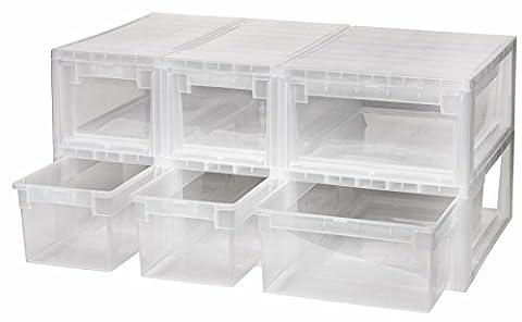 6 Stück Schubladenboxen mit Nutzvolumen 4 Stück mit 7 (S) und 2 Stück mit 12 (M) Liter. Passend für z.B. Socken, Krawatten, Shirts, Papier, Schreibwaren, etc.